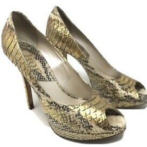 CHRISTIAN DIOR METALLIC GOLD SNAKE PUMPS